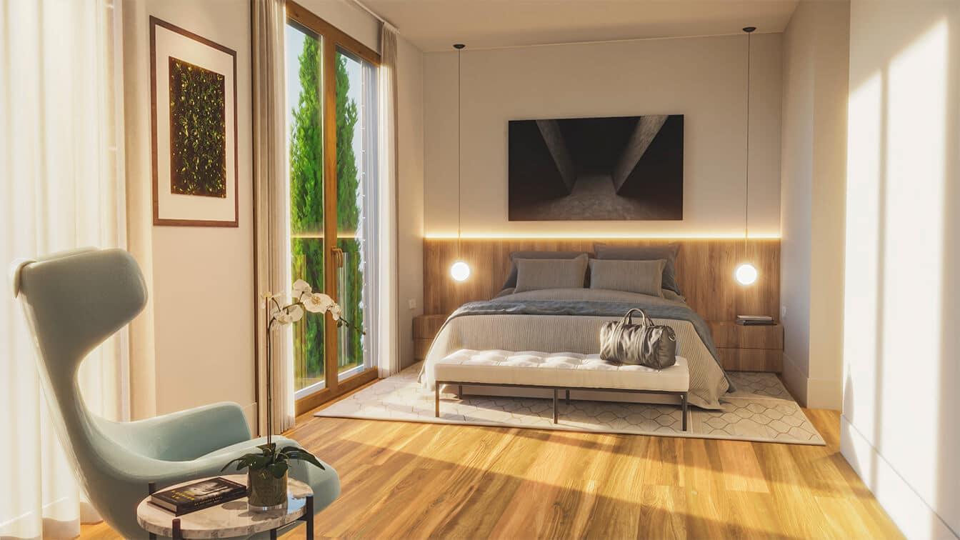 dormitorio principal obra nueva puerta de hierro